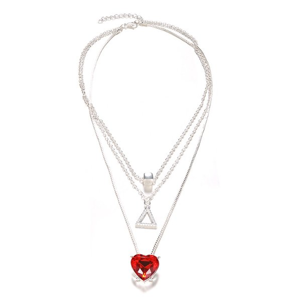 Women triangle Choker necklace Gold silver plated Crystal Multi layer Coin Heart Choker Jewelry Women necklace jewelry