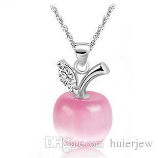 Jolies colliers en argent Sterling 925 beaux bijoux en argent colliers Apple opale pendentifs