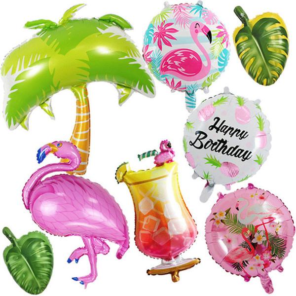 1 stücke Flamingo Blätter Obst Sonne Folienballon Hawaiian Tropical Luau Partei Liefert Jumbo Form Sommer Party Geburtstag Luftballons