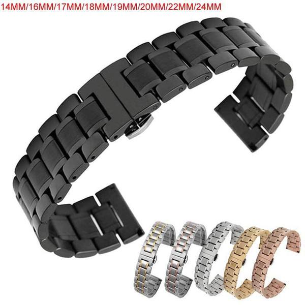 Bracelet de montre 14 16 17 18 19 20 22 24 mm Acier inoxydable Bracelet de montre Bracelet Bracelet Bracelet Papillon Noir Argent Rose T190620