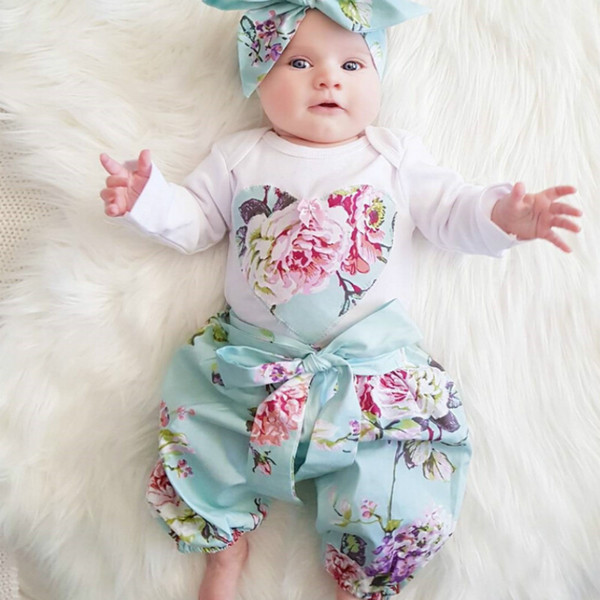 2018 Autumn Newborn Baby Girl Clothes Long sleeve Tops T-shirt+Floral Pants+Head band Toddler baby boy girl 3pcs Outfit Set Y18120801