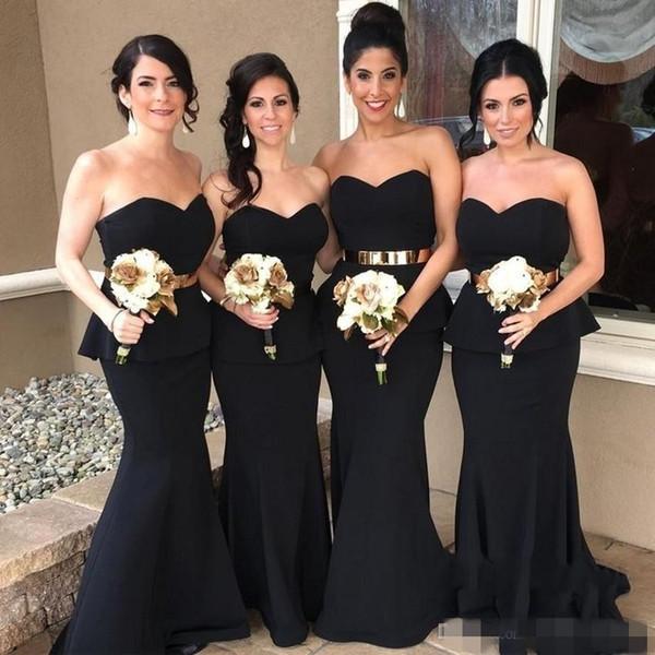 2019 Elegant Black Mermaid Bridesmaid Dresses with Gold Belt Peplum Sweetheart Neckline Satin Long Maid of Honor Gown Wedding Party Dress