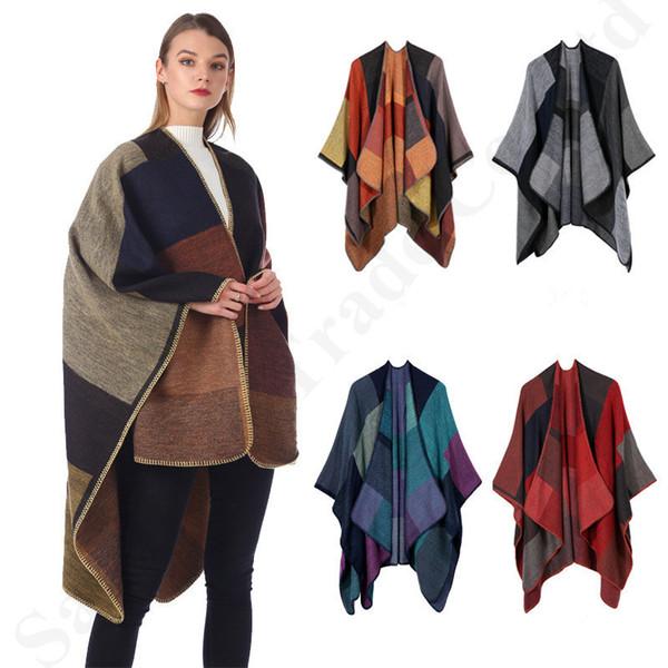 130 * 155см плед пончо женщины винтажный платок цветочный шарф вязать кашемировые шарфы общие накидки леди зима теплый плащ кардиган плащ пальто B3023