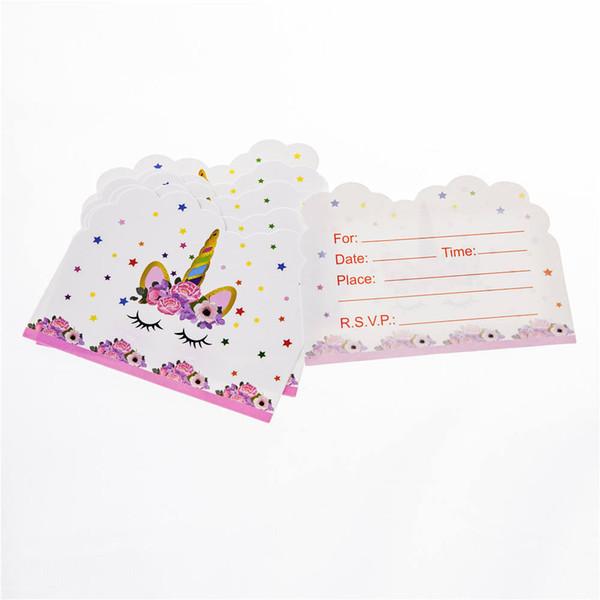 Compre Set Tarjeta De Invitación Del Tema Del Unicornio Tarjeta De Felicitación Fiesta De Cumpleaños Fiesta Temática Invitación Rosa Bendición