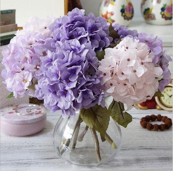 Moda Yapay Ortanca Çiçek Ipek Kumaş Plastik Düğün Malzemeleri DIY Ev Dekorasyon Doğum Günü Partisi Festivali Için GB47