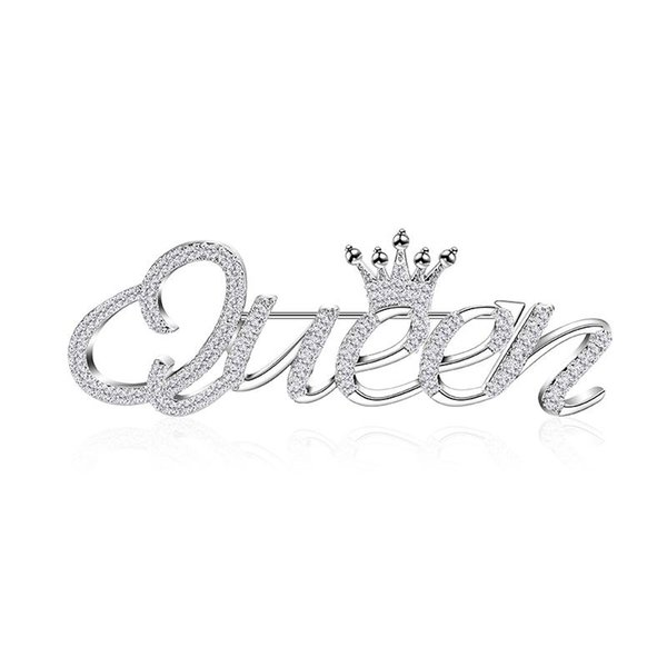 2019 Personality Trend Fashion Copper Brooch Beautiful Queen Silver Crown Copper Zircon Brooch High Quality Jewelry Accessories