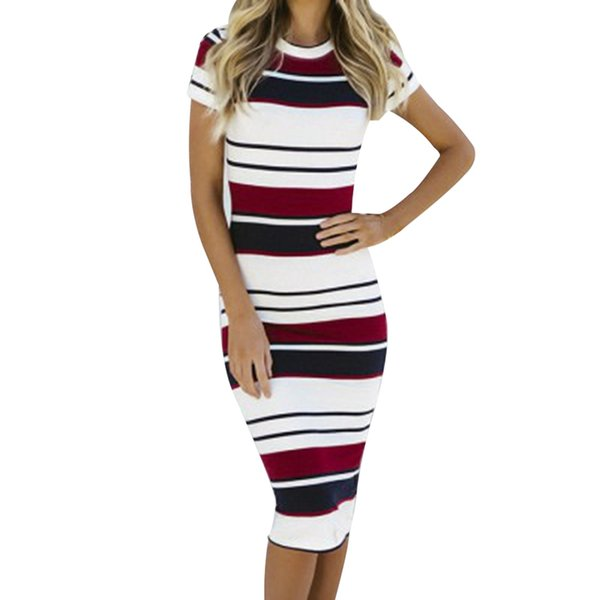 Fashion Casual Women Ladies Dresses Summer Striped Round Neck Short Sleeve Bodycon Midi Dress Red Yellow Clothes