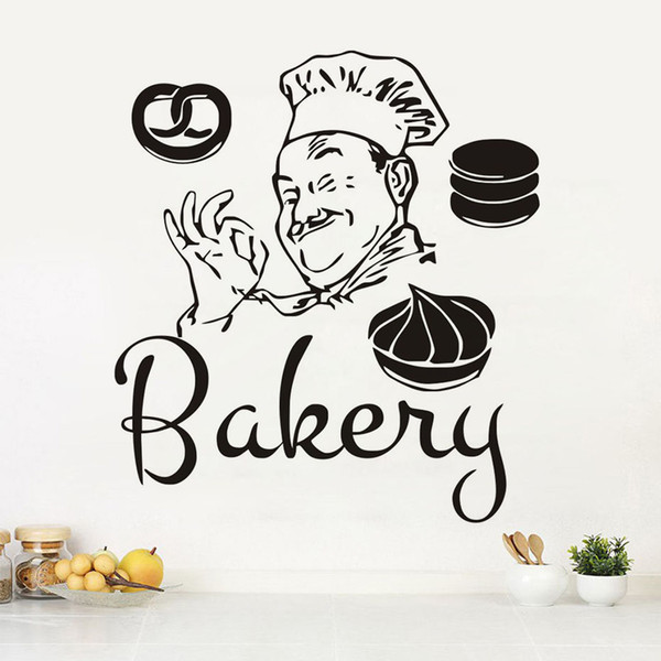 Diy Funny Bakery Chef Wall Stickers Waterproof Bathroom Kitchen Coffee Shop Decoration Cakes Decals Wallpapers Quotes Home Decor