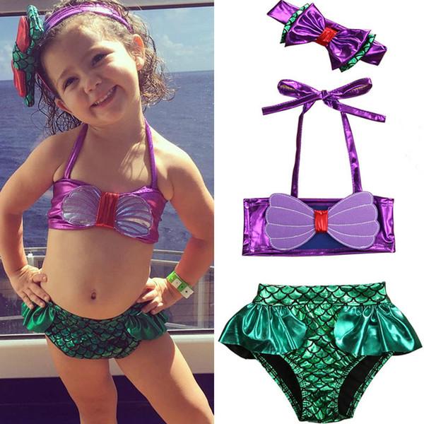 Vente chaude Princesse Bébé Petites Filles Sirène Bandage Bikini Ensemble Maillot De Bain Maillot De Bain Maillot De Bain Maillot De Bain Plage Maillot De Bain