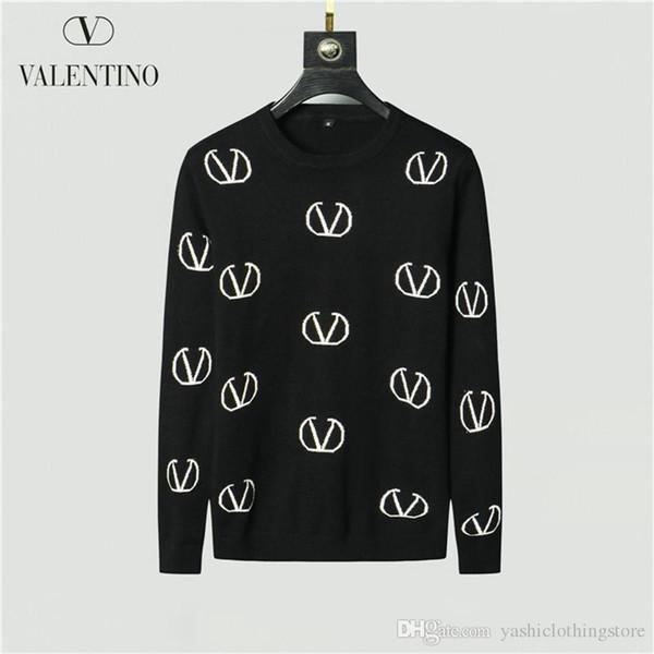 Sonbahar ve kış erkek giyim kazak klasik erkek giyim marka yuvarlak yaka uzun kollu sayaç kazak alfabe nakış kn