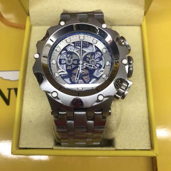 Hot Luxury Mens Watch 3A Quality 52mm Reserve Reloj de cuarzo multifuncional, esfera luminosa hueca, resistente al agua, plateada