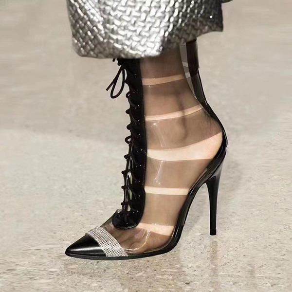 top popular New pointed lace up rhinestone transparent PVC patchwork pumps luxury designer high heel 2020
