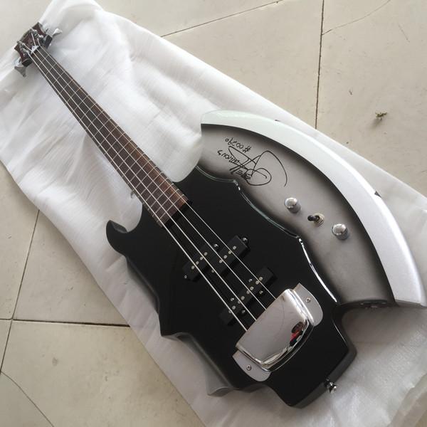 Frete Grátis 4 Cordas Axe Baixo Elétrico Guitarra com Assinatura, 3 Pickups, 21 Frets, Rosewood Fretboard, No Inay, oferecendo serviços personalizados