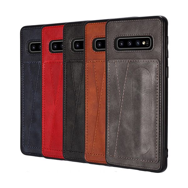 For Samsung S10 M30 M20 M10 A20 A30 A70 A750 Card Pocket Case Soft TPU Box Holder Wallet ID Card Slot Leather Back Cover Auto Stander Deluxe