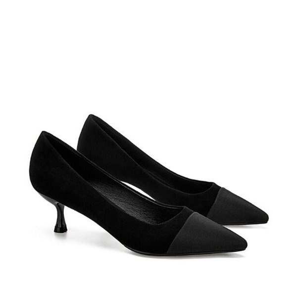 Women Evening dress high heels luxury Sexy Black Office & Career party wedding dress shoes shallow mouth pointed fashion Designer Women shoe