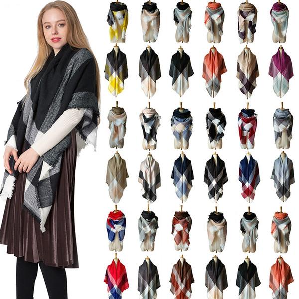 Sciarpa scozzese da donna di moda 140 * 140 cm scialle scozzese oversize scialle donna nappa all'aperto sciarpe quadrate coperta calda LJJT1436