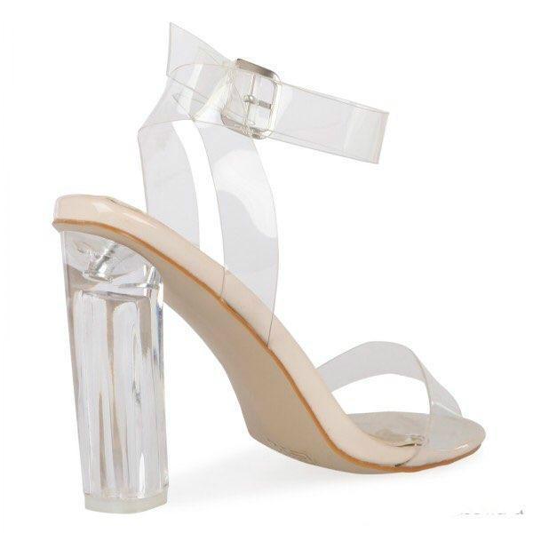 2019 Kim Kardashian PVC Braut Hochzeit Schuhe Clear Square Heels Schnalle Sommer Stil Damen Party Schuhe Plus Größe US4-US15 Nach Maß