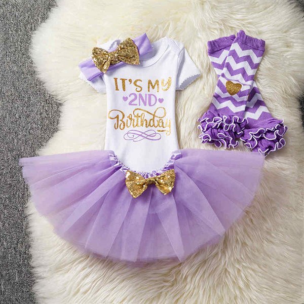 Babies 1st 2nd 1/2 years birthday party dress up rompers+tutus skirts+headband+long stock sock knee warmer 4pcs set infant toddler outfits