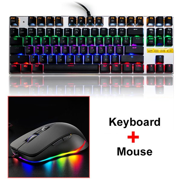 Metoo ZERO Backlight Gaming mechanische Tastatur Maus Rot Blau Schalter Tablet Desktop Russisch Spanisch Arabisch