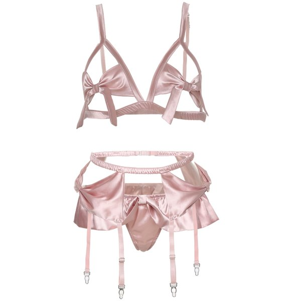 Pink Hollowed Sexy Ultra Thin Cup Bow Tie Seductive Lingerie Bra Panty Underwear Garter Belt Set Women Bra Thong Set
