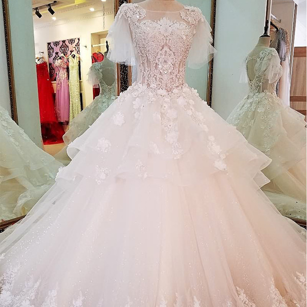 Puffy Short Sleeve Wedding Dress Lace Ball