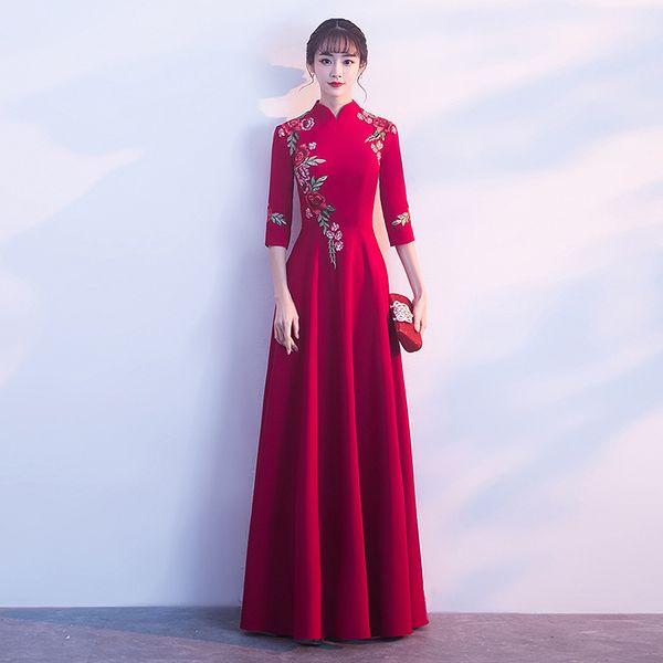 Noiva Bordado Vermelho Chinês Tradicional Vestido de Casamento Das Mulheres Vestidos de Noite Oriental Longo Qipao Robe Chinoise Cheongsam Moderno