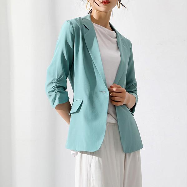 2019 Verano Lujoso Traje de seda pesado Pequeño traje Dama de oficina Un botón Chaqueta delgada feminino OL Temperamento Abrigos de alta calidad