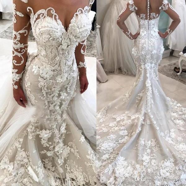 2020 Luxury Mermaid abito da sposa con fiori 3D maniche lunghe Plus Size Abiti da sposa Sheer collo Vestido De Novia