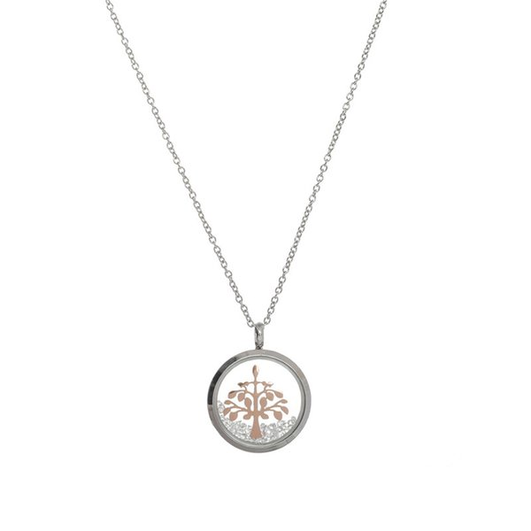 wholesale Jewelry 2019 Newset 23mm Glass Pendant Necklace with 45cm Stainless Steel Link Chain