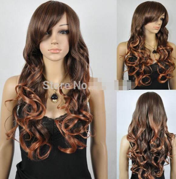 ÜCRETSIZ NAKLIYE + + yeni vogue kahverengi dalgalı kıvırcık rampa patlama Tam sentetik cosplay kadın saç peruk