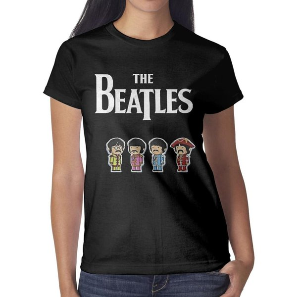 Funny cute cartoon the beatles logo Womens T Shirt black Shirts Custom T Shirts Designer Esign Crazy Blank Shirt Black