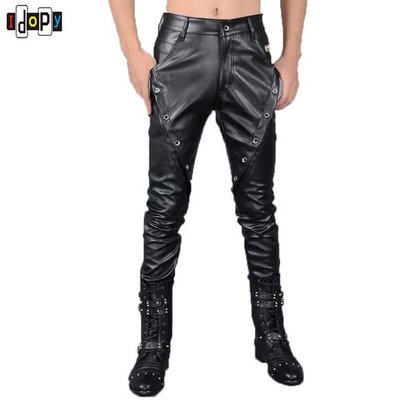 New Autumn&winter Simple Mens Leather Pants Motorcycle Black Slim Fit Biker Pants Size 27-36 Trousers For Men