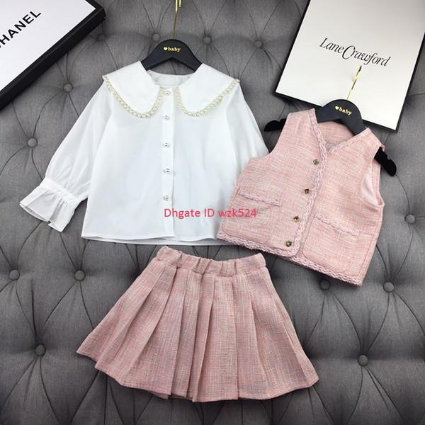 Conjuntos de camisa para niñas ropa de diseñador para niños chaleco + camisa + falda 3 piezas otoño nuevos conjuntos de falda plisada dulce lindo conjunto de moda elegante