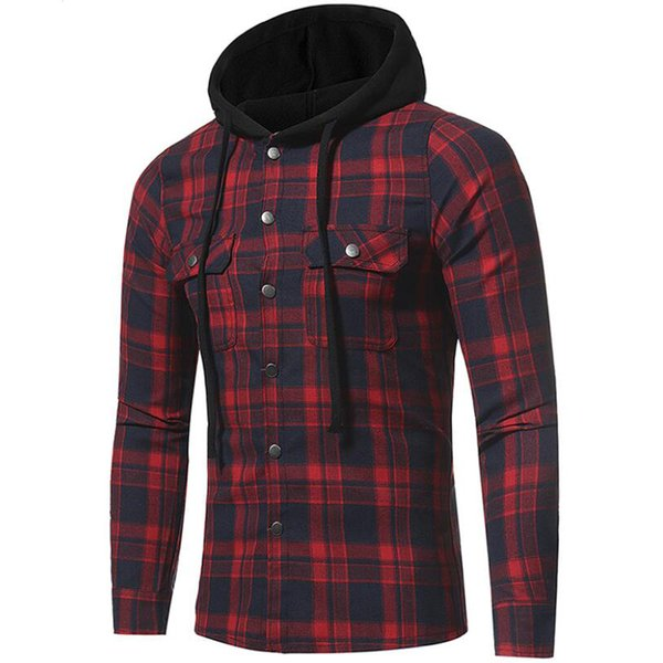 Hooded Plaid Shirt Men New Casual Flannel Big Plaid Double Pocket Long Sleeve Shirts Mens Spring Autmn Clothes Camisa Masculina