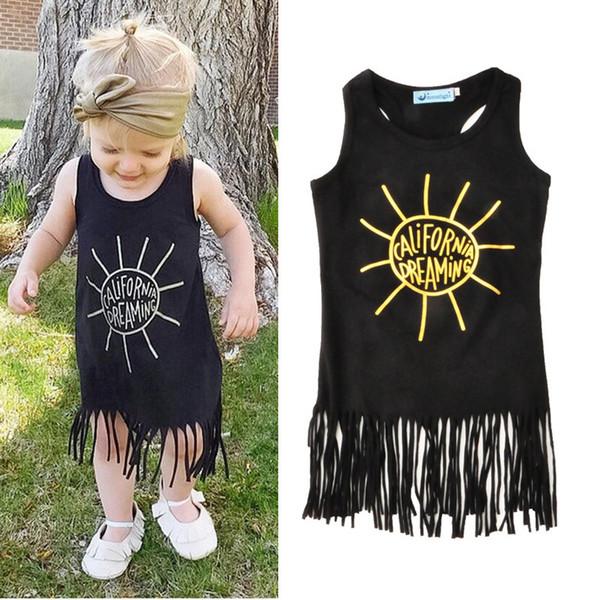 Schwarzes Goldmetallisches Baby-Kleid-Sommer-ärmelloses Sommerkleid-nette Mädchen-Quasten-Kleid-Westmädchen-Ausstattungs-Kinderkleidung