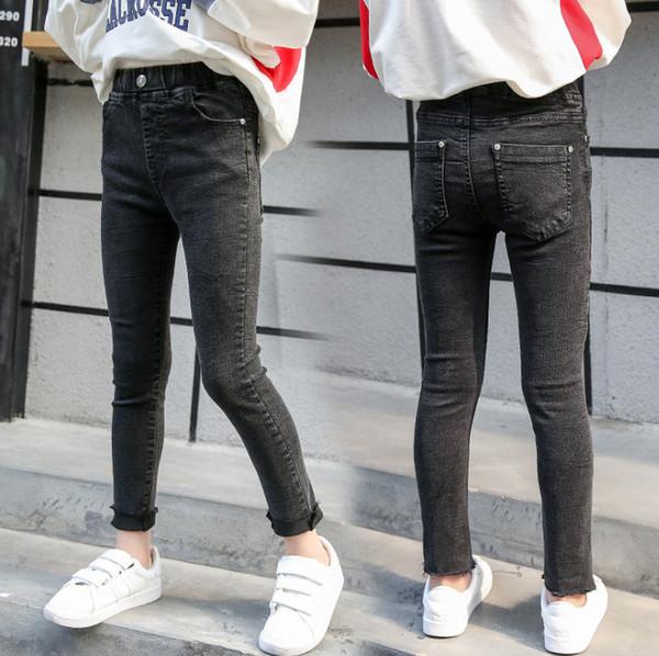 Big girls jeans fashion kids pearls tassel skinny denim pants children double pocket elastic casual cowboy trouser fit 3-15T F5786