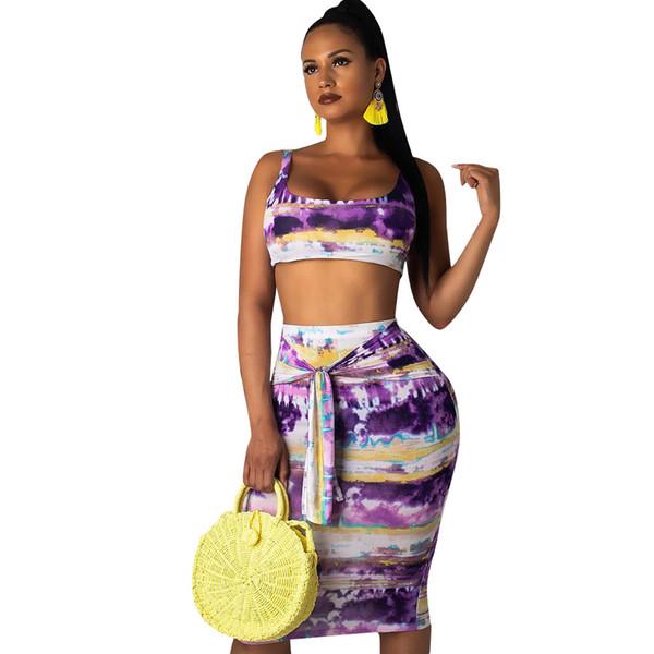 2019 Yaz Seksi Moda Iki Parçalı Set Kırpma Üst Ve Etek Seti 2 Parça Kadınlar Seksi Renkli Bodycon Iki Kıyafetler Yeni
