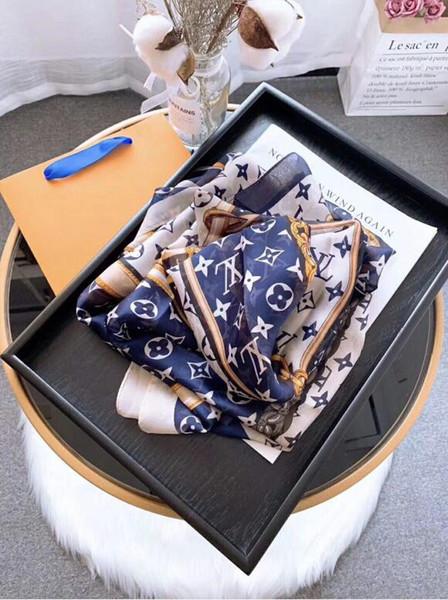 Venta de alta calidad de alta gama de diseñadores de lujo bufanda de seda dama de la moda de primavera y verano nueva bufanda impresa 180 * 90 cm D002