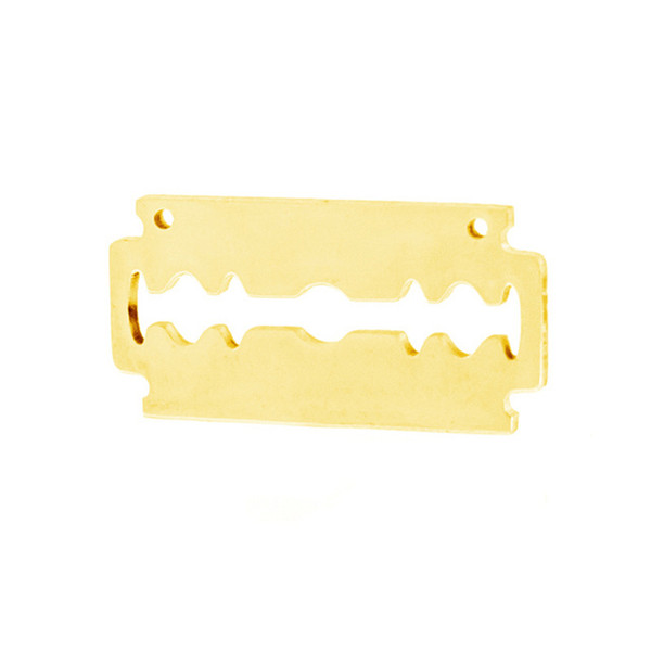 100% Stainless Steel Razor Steeel/Gold Color Shaver Blade with 2 Loops Charm Mirror Polish Male Punk Pendant Wholesale 100pcs