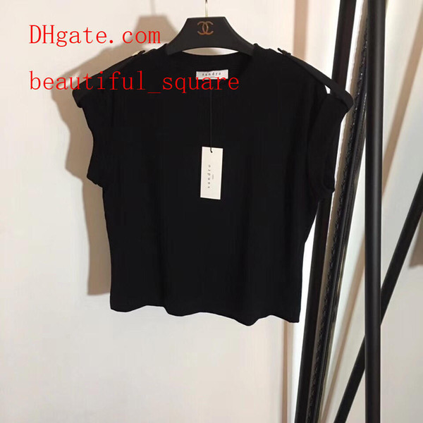 Camiseta para mujeres Algodón Cuello redondo 100% algodón transpirable tops casuales camiseta suave de algodón puro slim fit negro 2019 Verano de manga corta