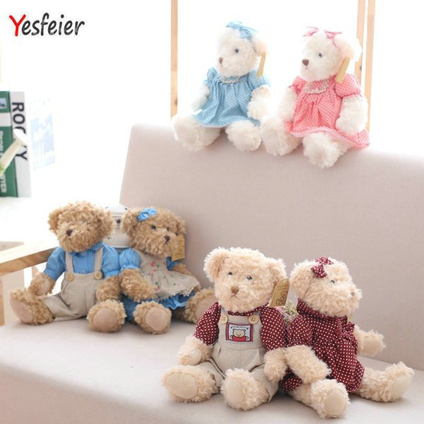 2 Pcs/pair 26cm Lovely Couple Teddy Bear With Cloth Plush Toys Dolls Stuffed Toy Kids Baby Children Girl Birthday Christmas Gift Y19062704