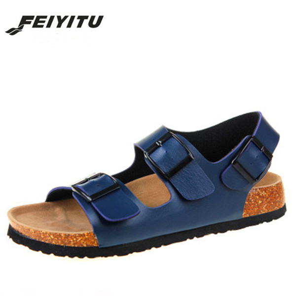 Feiyitu Summer Fashion Men Double Buckle Sandals Flats Cork Gladiator Beach Shoes Sandalias Unisex Lovers Plus Size 35-45 black