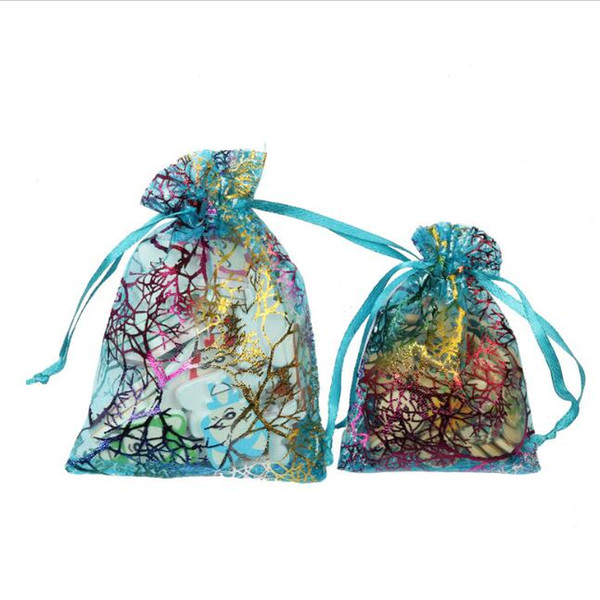 organza jewelry storage bags wedding party pouch drawstring closure coral pattern gift storage bags packing bags
