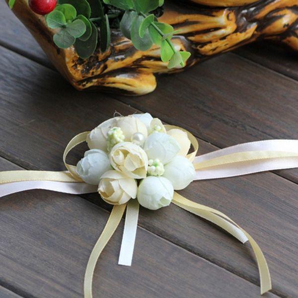 Noiva Flor De Pulso De Casamento Boutonniere Champagne Rose Groomman Groomsman Artificial Terno Acessórios Decorativos