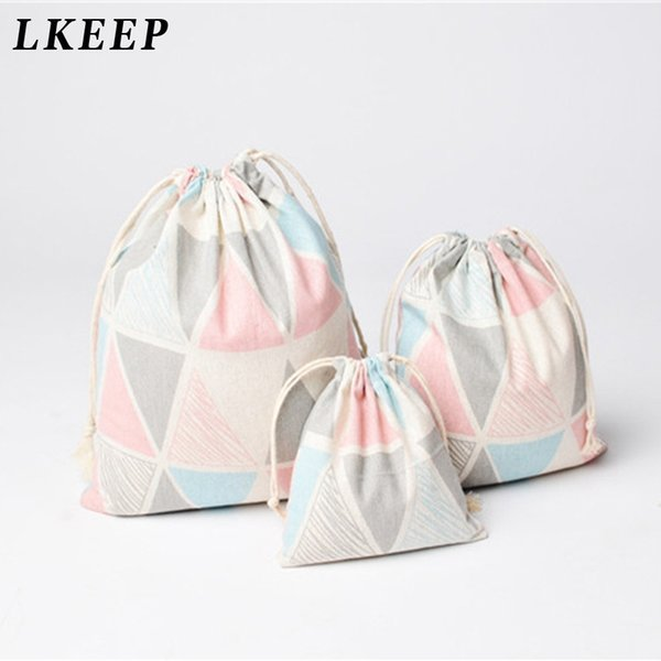 Fashion Portable Drawstring Bags Girls Shoes Bags Women Cotton And Linen Travel Pouch Storage Clothes Handbag Makeup Bag