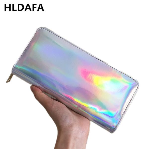 HLDAFA 2019 Yeni Deri Kadın Cüzdan Hologram Çanta Lazer Gümüş Debriyaj Cüzdan Uzun Kadın Para Çanta Banka Kartı Tutucu Telefon çanta