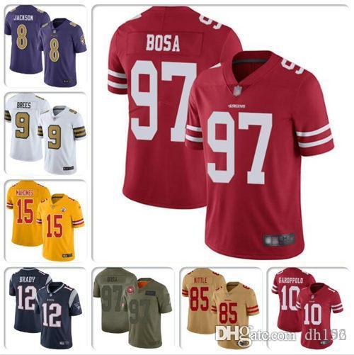 camisa para Nick Bosa George Kittle Jimmy Garoppolo Jersey Drew Brees, Tom Brady Patrick Mahomes Lamar Jackson Alvin Kamara fútbol jerseys