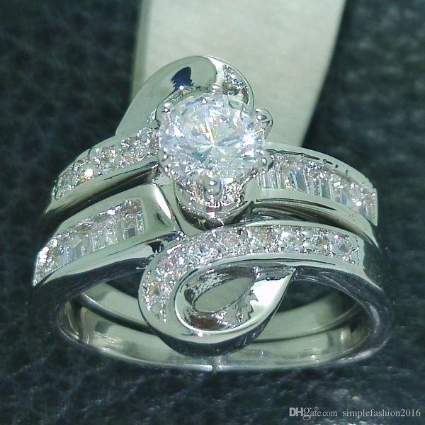 Fashion Jewelry Mystic Divinity Jewellery 5A zircon cz 10KT White Gold Filled Wedding Ring Set Sz 5-10 Free shipping