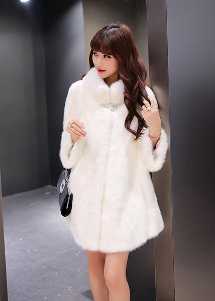2018 nuevo abrigo de piel sintética de las mujeres más del tamaño abrigo de invierno mujer chaqueta de piel sintética de piel blanca Cálido chaqueta de alto grado