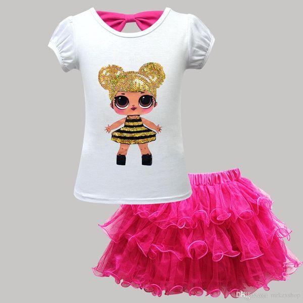 nouvelles courte ESTIVALE enfants ensemble filles à manches courtes jupe en deux parties jupe bulle sequins, zx003